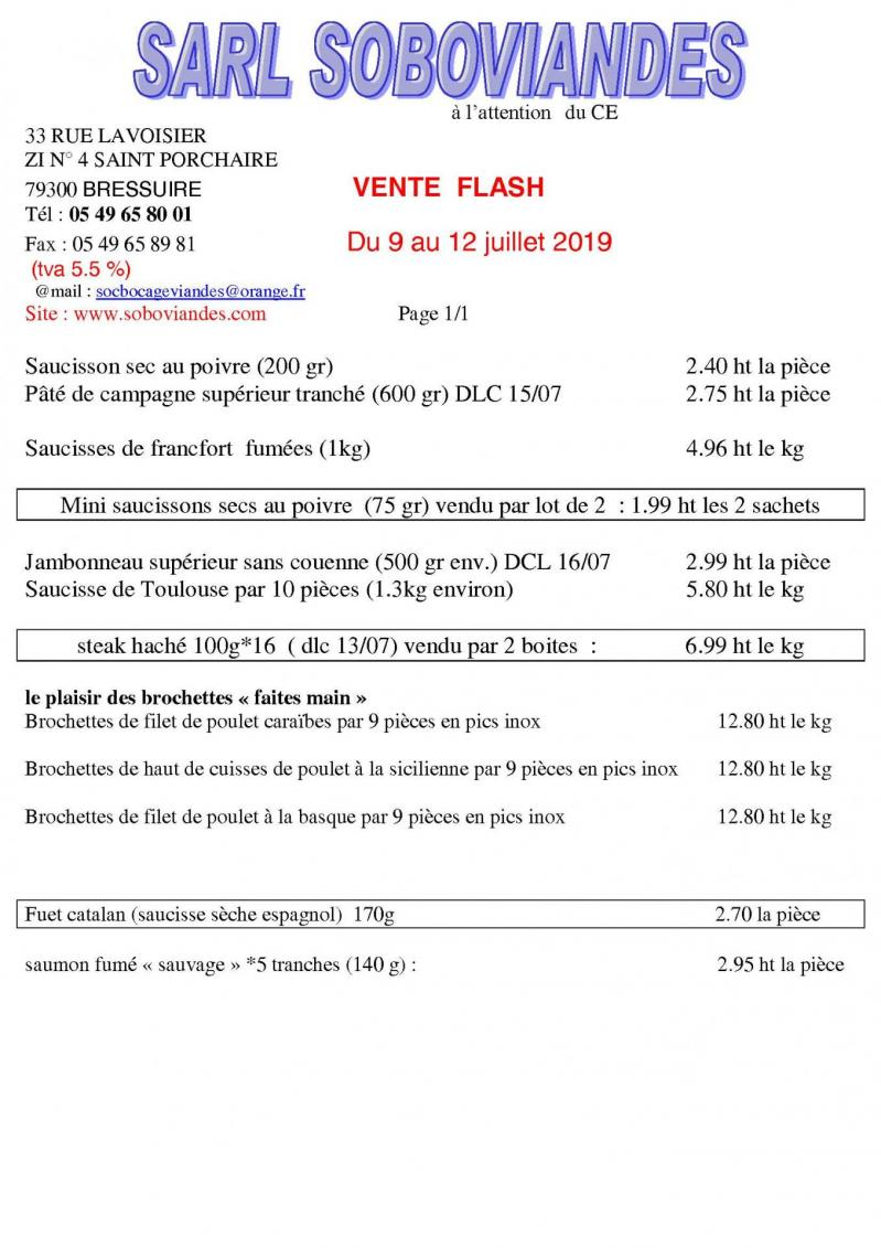 Vente flash du 09 12juillet